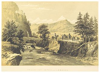 Afqa - The Falls of Afka, with ancient bridge (c.1860)