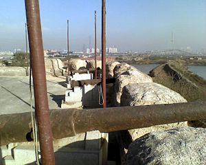 Coastal defence and fortification - View looking north from the gun platform. Taku Forts Museum, China.