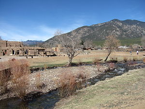 Taos Pueblo, New Mexico - Landscape of Taos Pueblo, Rio Pueblo de Taos, and the Sangre de Cristo Mountains