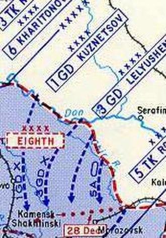 Tatsinskaya Raid - Detail of USMA Map showing the penetration routes of 24th and 25th Tank Corps (3GD arrow = 24th Tank Corps; Unlabeled arrow = 25th Tank Corps.