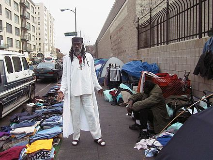 Homeless tent city in Skid Row, Los Angeles. The 2019 count found 58,936 homeless people living in Los Angeles County. Ted Hayes .jpg