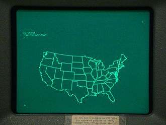 Tektronix 4010 - This image shows an example file generating a map of the states of the USA on the Tektronix 4014.