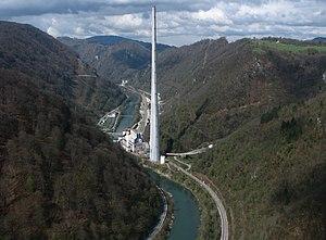 Trbovlje Power Station - Trbovlje Chimney above the Sava Valley