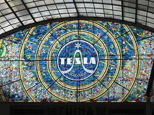 Tesla (Czechoslovak company) - Stained glass Tesla Radio in Passage Světozor in Prague