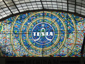 Tesla (Czechoslovak company) - Stained glass Tesla Radio in Passage Světozor in Prague