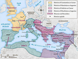 Diocletianic Persecution - Map of the Roman Empire under the Tetrarchy, showing the dioceses and the four Tetrarchs' zones of influence.