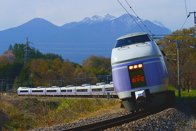 "File:The ""Super Azusa"" limited express going in the foothills of Mt. ""Yatsugatake"".JPG"