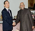 The Chinese Premier, Mr. Wen Jiabao calls on the Vice President, Shri Mohd. Hamid Ansari, in New Delhi on December 16, 2010.jpg