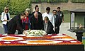 The King Albert II and Queen Paola of Belgium laying wreath at the Samadhi of Mahatma Gandhi at Rajghat, in Delhi on November 04, 2008.jpg