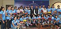 The Minister of State for Youth Affairs and Sports (IC), Water Resources, River Development and Ganga Rejuvenation, Shri Vijay Goel with the Indian Women Hockey Team, at the felicitation function, in New Delhi.jpg