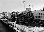The Navy and Marines in formation in front of the Headquaters building of the Naval Station for President Harry S. Truman's last visit to Key West in 1969 (8150900463).jpg