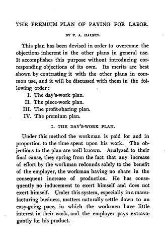 Frederick A. Halsey - The Premium Plan of Paying for Labor, 1891
