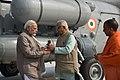 The Prime Minister, Shri Narendra Modi being received by the Governor of Uttar Pradesh, Shri Ram Naik and the Chief Minister, Uttar Pradesh, Yogi Adityanath, on his arrival at Botanical Garden, in Noida, Uttar Pradesh.jpg