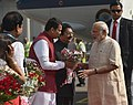 The Prime Minister, Shri Narendra Modi being welcomed by the Governor of Maharashtra, Shri C. Vidyasagar Rao and the Chief Minister of Maharashtra, Shri Devendra Fadnavis, on his arrival at Mumbai Airport (1).jpg