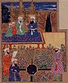 The Prophet, 'Ali, Husayn and Hasan in Paradise; 'Uthman, 'Umar and Abu Bakr are in the foreground. Miniature from a 17th century manuscript of Khavarnama, a poem on the deeds of 'Ali; Punjab, 1686 (BL).jpg