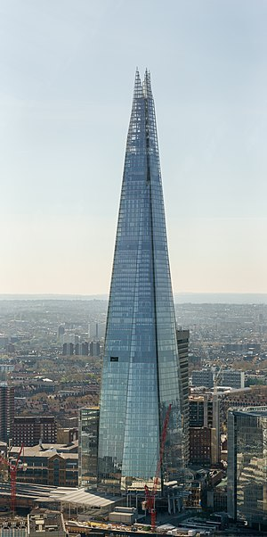 "The Shard - The Shard in April 2015, viewed from the ""Sky Garden"" atop 20 Fenchurch Street"