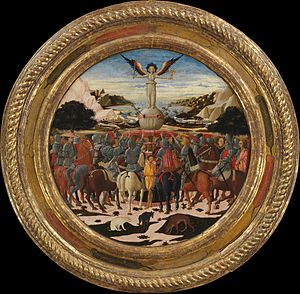 Desco da parto - Triumph of Fame on the Medici–Tornabuoni desco da parto painted for the birth of Lorenzo de' Medici, 1449