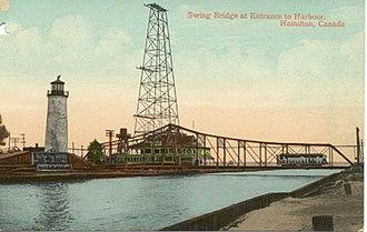 Hamilton Street Railway - A Hamilton Radial Electric Railway vehicle crosses the Hamilton Harbour swing bridge in 1907.