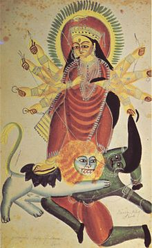 The goddess durga on her lion kills the demon mahishasura, 1880, kalighat school.jpg