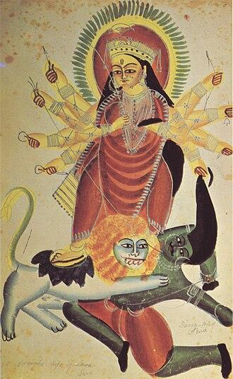 Kalighat painting - Durga and Mahishasura, c.1880