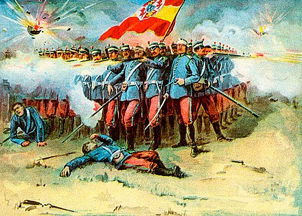 The last stand of the Spanish Garrison in Cuba by Murat Halstead, 1898 The last stand of the Spanish Garrison.jpg