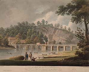 This View of Chepstow Bridge on the River Wye: is by the greatest respect incribed by his lordship's obidient humble servant F. Jukes