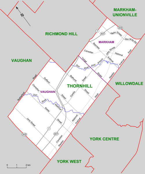 Map of Thornhill riding (2003 boundaries) Thornhill (riding map).png