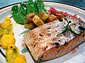 Thyme and Garlic Grilled Salmon with Mango Salsa, Rosemary Potatoes and Snow Peas (297986190).jpg