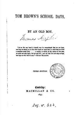 The Flashman Papers - Title page of Thomas Hughes's 1857 novel Tom Brown's School Days, the origin of the Flashman character