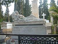 Ένα από τα πιο ονομαστά γλυπτά του Γιαννούλη Χαλεπά, η Κοιμωμένη, στον τάφο της Σοφίας Αφεντάκη στο Α' Νεκροταφείο Αθηνών
