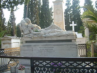 First Cemetery of Athens - Tomb of Sofia Afentaki with I Koimomeni, a work of Yannoulis Chalepas.