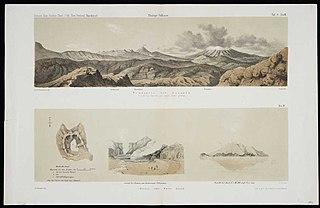Tongariro und Ruapahu, vom Berge Ngariha aus gegen Sudost gesehen. Taf.8. Nro.III. Dr F. Hochstetter del; Grefe lith. / Whakari oder White Island. Nro.IV. Ch. Heaphy del; Grefe lith.