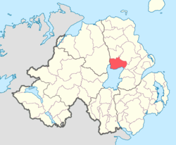 Location of Toome Upper, County Antrim, Northern Ireland.