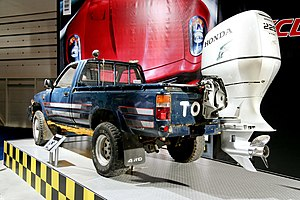 "Top Gear (2002 TV series) - Jeremy Clarkson's '""Toybota""' Hilux pick-up truck from the amphibious cars challenge."