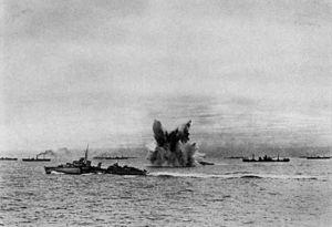 Torpedo explosion in convoy c1942