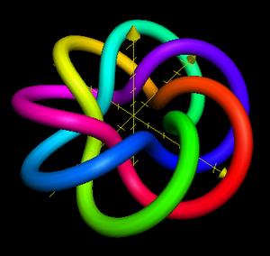 Wikipedia:Torus knot as rendered by Wikipedia:...