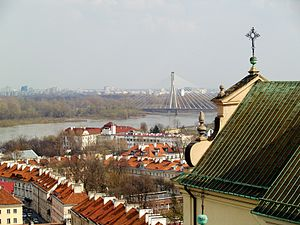 Powiśle - View from St. Anne's Church towards Świętokrzyski Bridge, looking over Mariensztat.