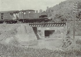 Train on Mange-Shinten Line in Taihoku 1930s.jpg