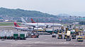 TransAsia Airliners and Private Aircraft in Taipei Songshan Airport Apron 20140726.jpg
