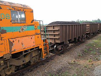 Compagnie minière de l'Ogooué - Ore trucks on the Trans-Gabon Railway