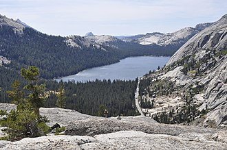 California State Route 120 - Tioga road and Tenaya Lake viewed from Pywiack Dome.