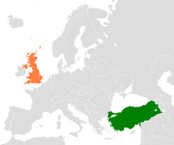Map indicating locations of Turkey and United Kingdom