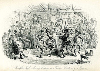 Plough Monday - The Twelfth Night gathering in Harrison Ainsworth's Mervyn Clitheroe (1858), illustrated by Phiz, depicting the northern Fool Plough dance.