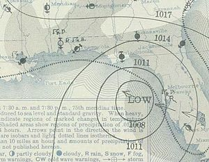 1939 Atlantic hurricane season - Image: Two 1939 08 12 weather map