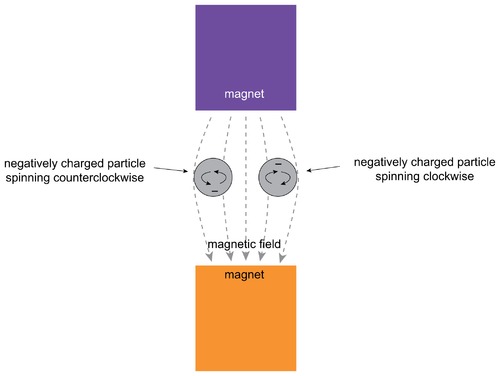 Two negatively charged particles spinning in a magnetic field.png