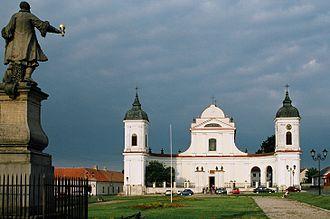Tykocin - Market Square with the statue of hetman Stefan Czarniecki