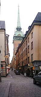 Tyska Brinken street in Gamla stan, Stockholm, Sweden