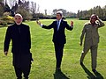 U.S. Secretary of State John Kerry, Afghan President Hamid Karzai, and Pakistani Chief of Army Staff General Ashfaq Kayani return from a walk around the backyard of Truman Hall in Brussels, Belgium, on April 24, 2013.jpg
