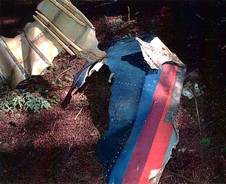 "United Airlines Flight 93 - Debris of Flight 93 found at crash site. The United Airlines ""Battleship Gray"" livery used on the aircraft is visible."