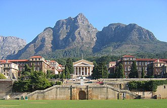 University of Cape Town - A view of Upper Campus, looking west from the rugby fields that separate Upper Campus from Middle Campus, with Devil's Peak in the background.